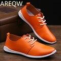 AREQW 2017 Piel de Otoño y de Invierno Nuevos hombres de Un Solo Ultra-Zapatos de Cuero Ocasionales de los Zapatos para Hombre Blanco Puro Al Por Mayor