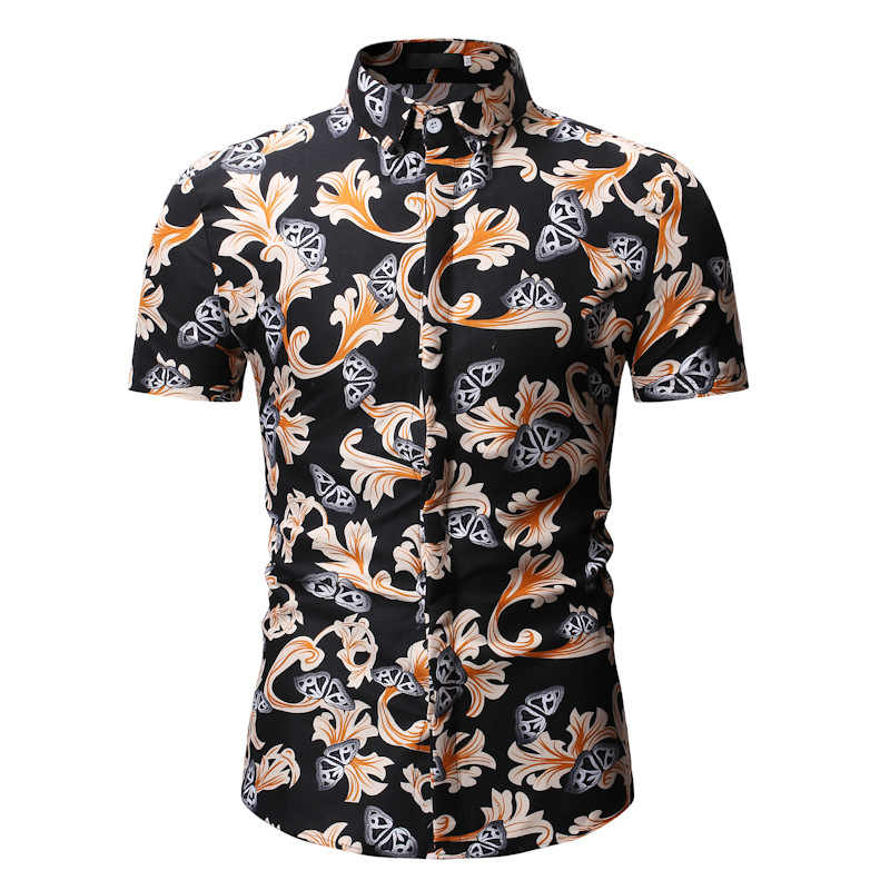 Летняя Пляжная Мужская гавайская рубашка 2019 новые брендовые рубашки с коротким рукавом и цветочным рисунком мужская повседневная праздничная одежда для отдыха Camisa Masculina