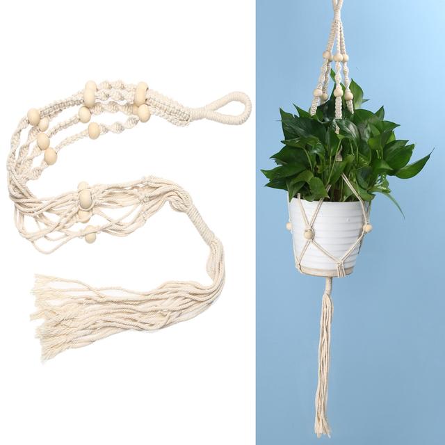 Plant Hanger Macrame Jute Rope Vintage Hanging Pots Basket Planter Holder Balcony Flowerpot Hanger Rope Decoration Wall Art
