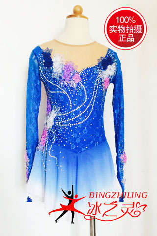 silk blue ice skating dresses for competition women figure skating dress custom hot sale free shipping