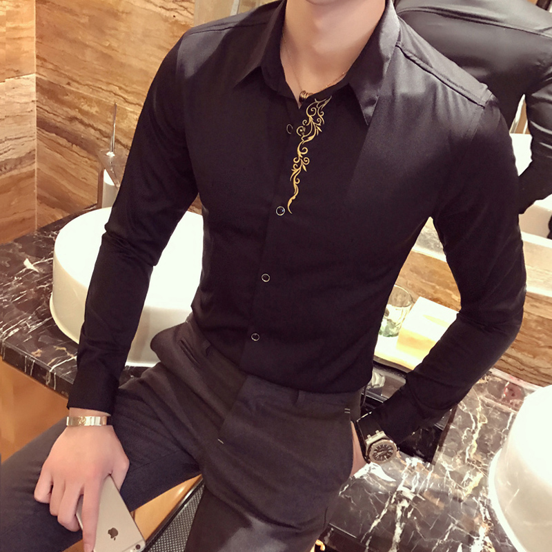 2017 Baroque Shirts Mens With Embroidery Royal Gold Tuxedo