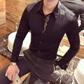 2017 Royal Shirts Mens Baroque Gold Embroidery Luxury Wedding Mens Dress Shirts Social Camisa Slim Fit Club Outfits Tuxedo Shirt