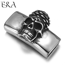 Stainless Steel Slider Beads Raised Skull 12*6mm Hole Slide Charms for Men Leather Bracelet Punk Jewelry Making DIY Supplies stainless steel slider beads shield skull 12 6mm hole slide charms for men leather bracelet punk jewelry making diy supplies