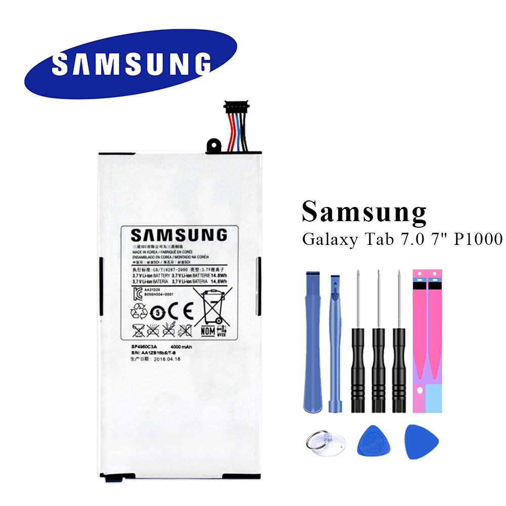 Original Tablet Battery SP4960C3A For Samsung Galaxy Tab 7.0 7 GT-P1000 P1010 Internal Batteria with ToolsOriginal Tablet Battery SP4960C3A For Samsung Galaxy Tab 7.0 7 GT-P1000 P1010 Internal Batteria with Tools