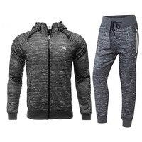 Fashion 2017 Mens Tracksuit Set Uniform Zipper Fleece Sport Suits Hoodies Hiohop Streetwear Jacket Homme Gym