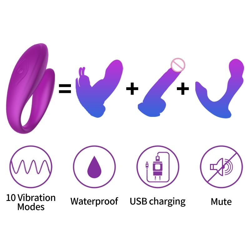 BODYPRO Double head Vibrator 10 Speed U shape Stimulate vagina clitoris For Women Masturbation Wireless Remote