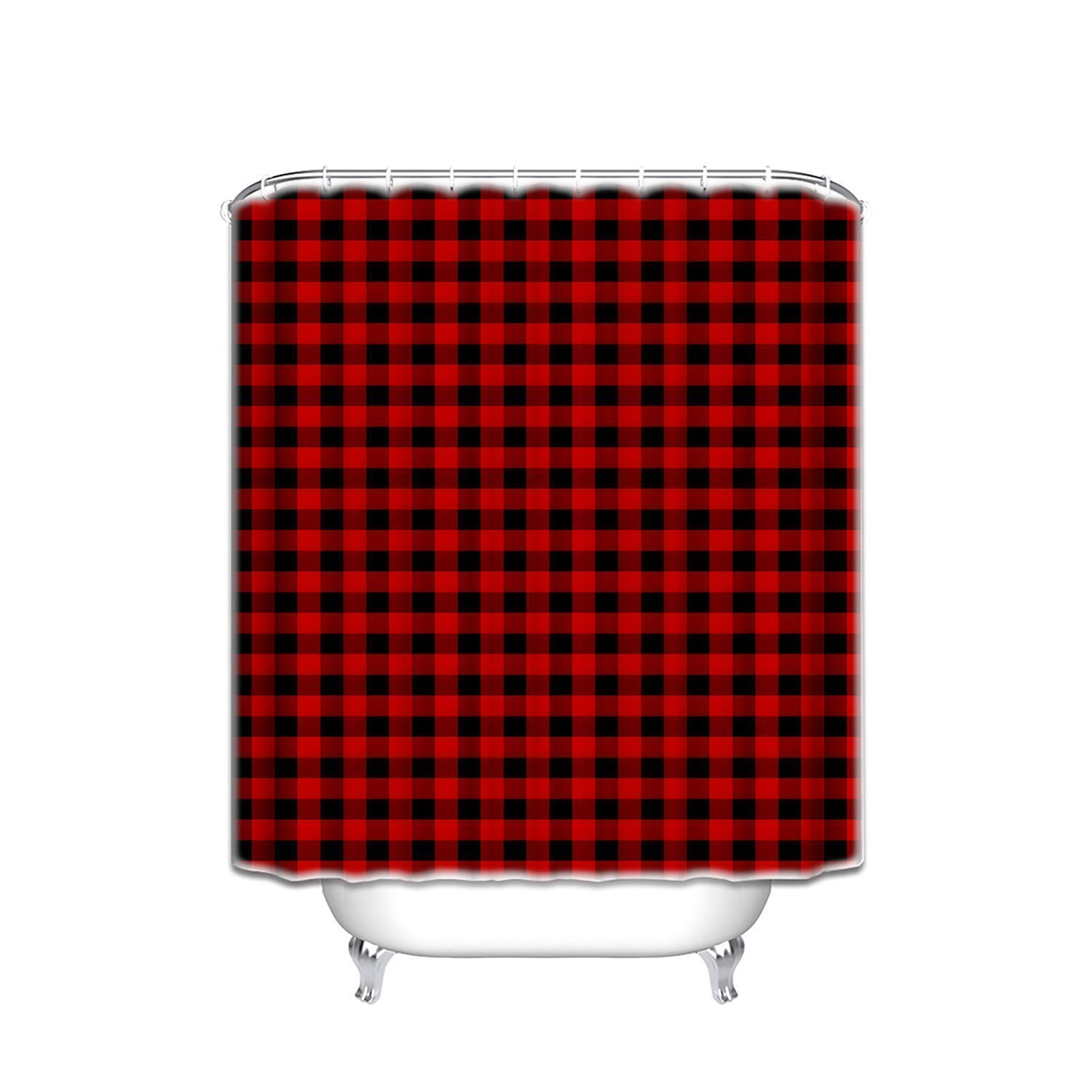 Red And Black Shower Curtain Set Us 16 81 37 Off Rustic Red Black Buffalo Check Plaid Pattern Waterproof Polyester Fabric Bathroom Shower Curtain Set With Hooks Shower Curtains In