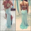 Vestido De Festa Sheer Appliques Beaded Blue Prom Dresses 2017 Backless Long Evening Party Dresses High Leg Slit Formal Gown