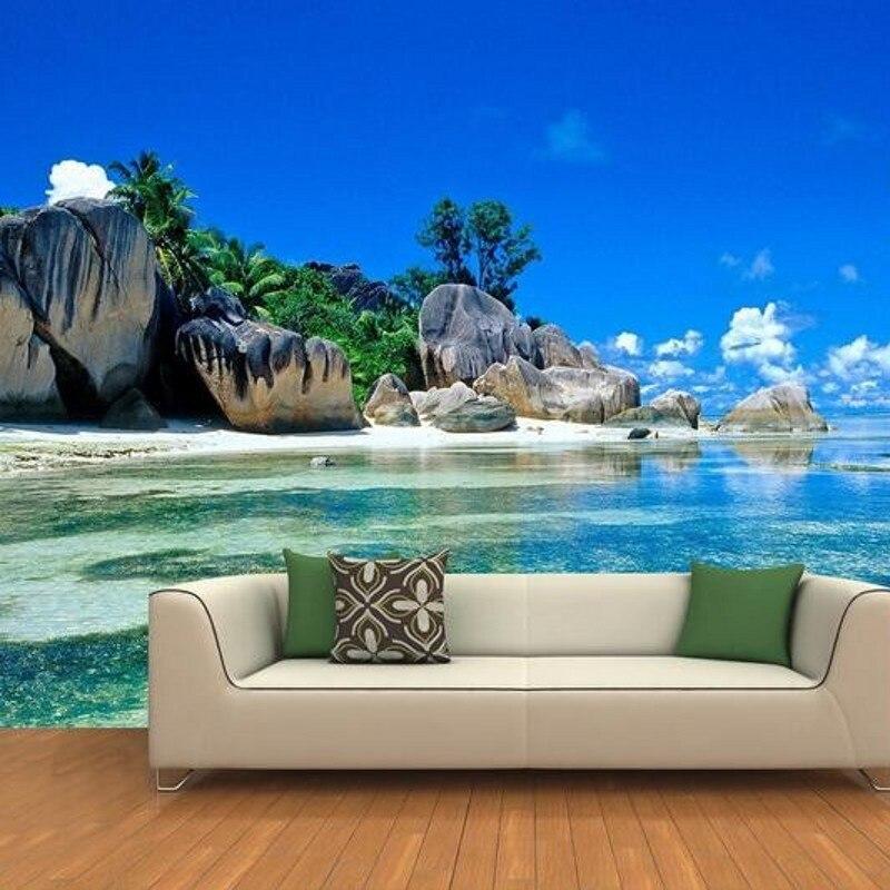 3d kamer behang custom muurschildering muursticker 3d eiland landschap rock strand schilderij - Deco originele muur ...