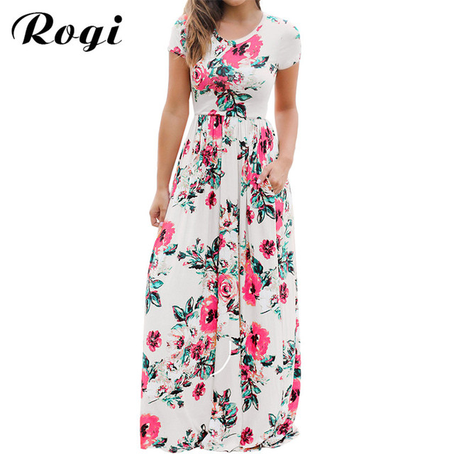 9046913afacb Rogi Summer Floral Print Long Maxi Dress 2019 Casual Boho Beach Party Dress  Female Plus Size Dress Sundress Vintage Vestidos 3XL-in Dresses from Women s  ...