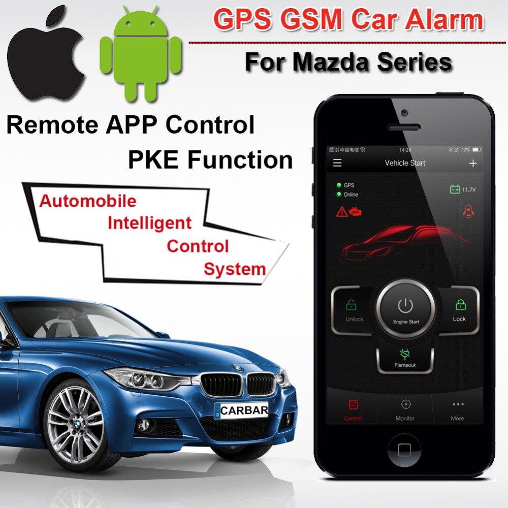 IOS Android PKE GPS GSM alarme de voiture pour Mazda Voiture Moteur Push Start Bouton Système D'entrée Sans Clé traceur GPS Historique des Alarmes CARBAR