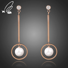 SSteel New Fashion Jewelry Office Punk Round Pearl Dangle Circle Titanium Stainless Steel Statement Drop Earrings For Women