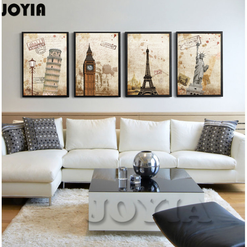 Wall painting home decor vintage canvas prints world for Paintings for house decoration