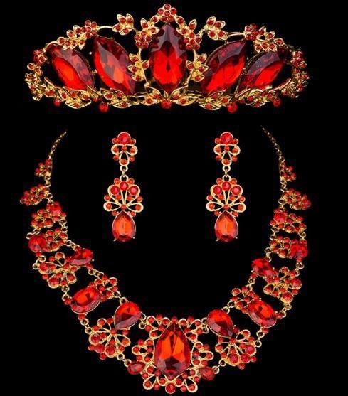 Amazing Wedding Bridal Rhinestone Crystal Red Jewelry Set Choker