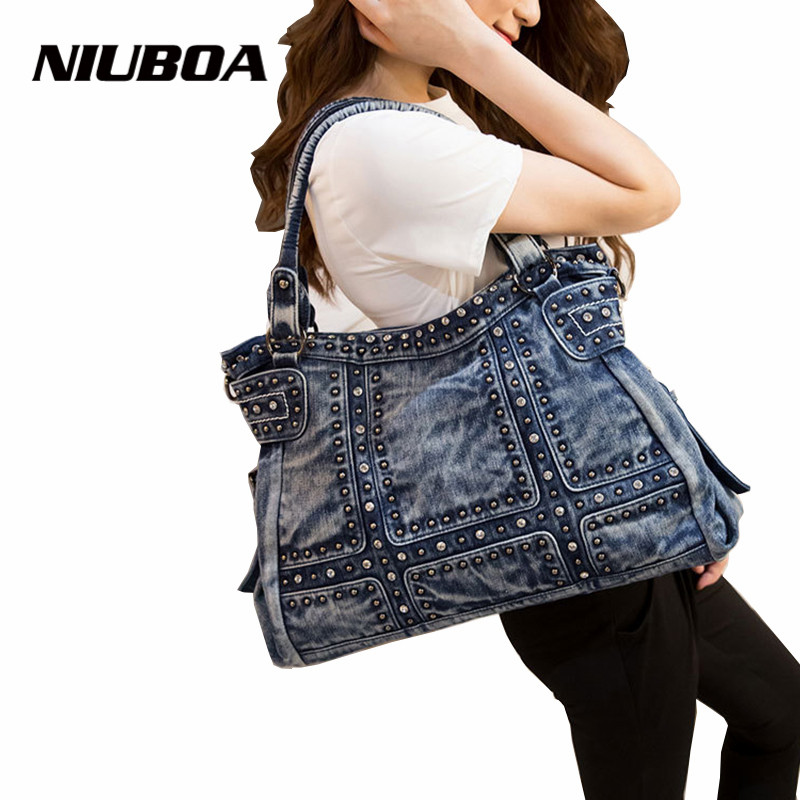 NIUBOA Fashion Women Handbags Big Capacity Denim Girls Shoulder Bag Rivet Folk-Custom Vintage Tote Blue Crossbody Shoulder Bags