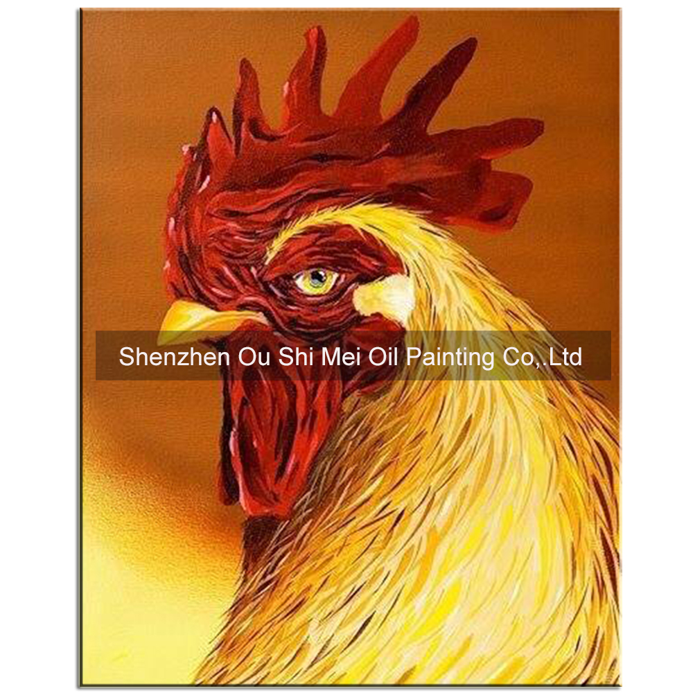 Hand Painted Red Comb Oil Paintings on Canvas Golden Yellow Force Cock Wall Oil Painting Year of the Rooster Mascot Animals Art
