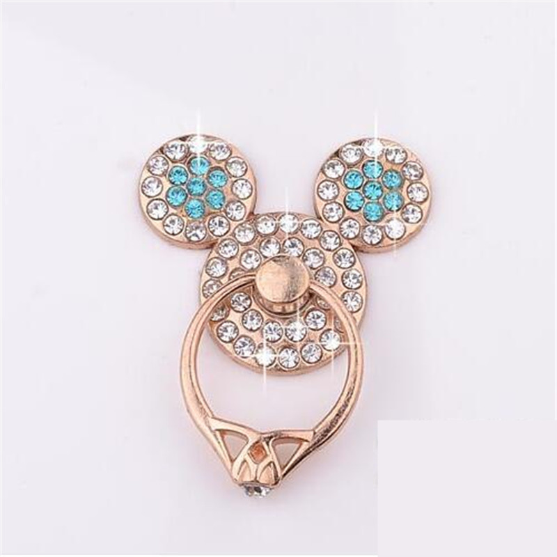 UVR Colorful Mouse Metal Finger Ring Phone Stand Holder Diamond Mobile Phone Holder Stand For IPhone All Smartphone Mount