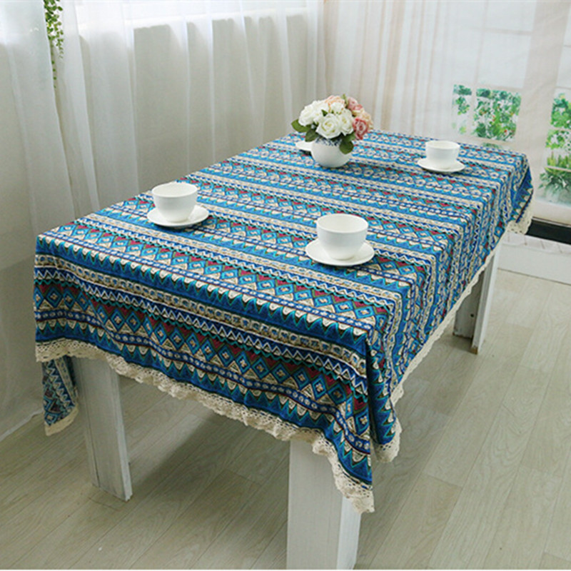 Cotton Linen Tablecloth Bohemian Style Square Lacework Dining Table Cloth for Home Restaurant Decorations