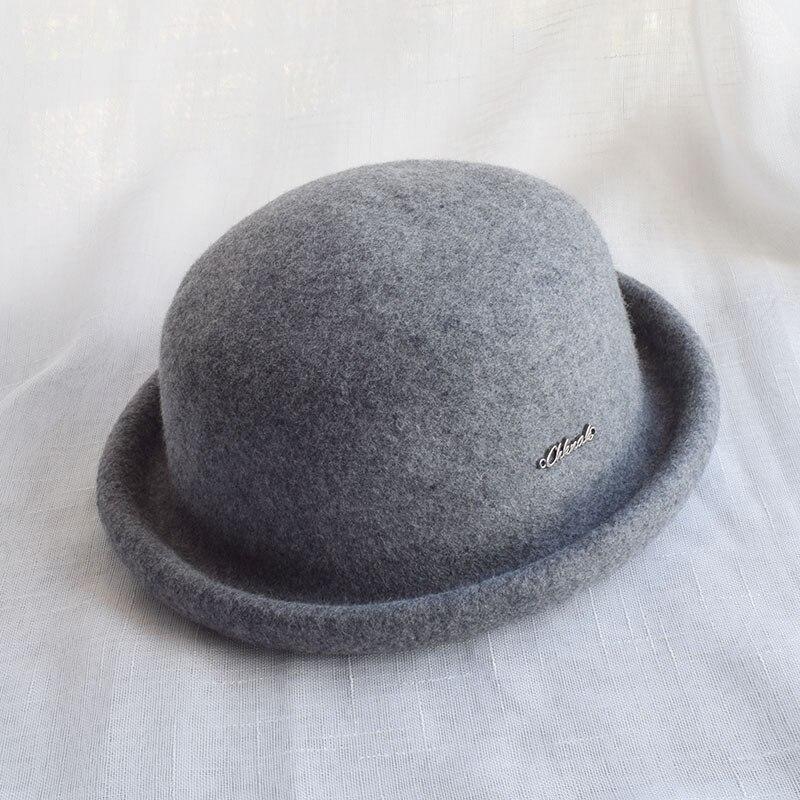9a5e61ffab6778 2019 Winter Grey Wool Felt Bowler Hat Chapeau Women Fedoras Female ...