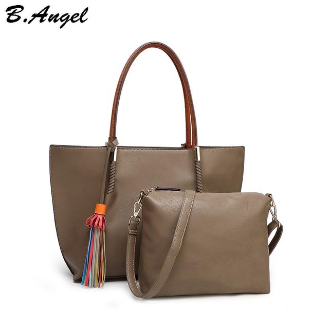 a91f38891673 2 bags 1 set Women tassel bag brand women messenger bags leather luxury handbag  designer tote