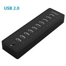 Maikou 10 Порты USB2.0 концентратор переходник Разветвитель 12 V 2.5A 30 Вт Питание для ноутбуков, ПК, компьютер, мобильный HDD, флэш-накопитель и более