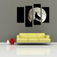 4 Picture Combination Canvas Print Wall Art Painting Wolf Moon Darkness Calming Black Fantasy Ultra Picture For Home Decoration