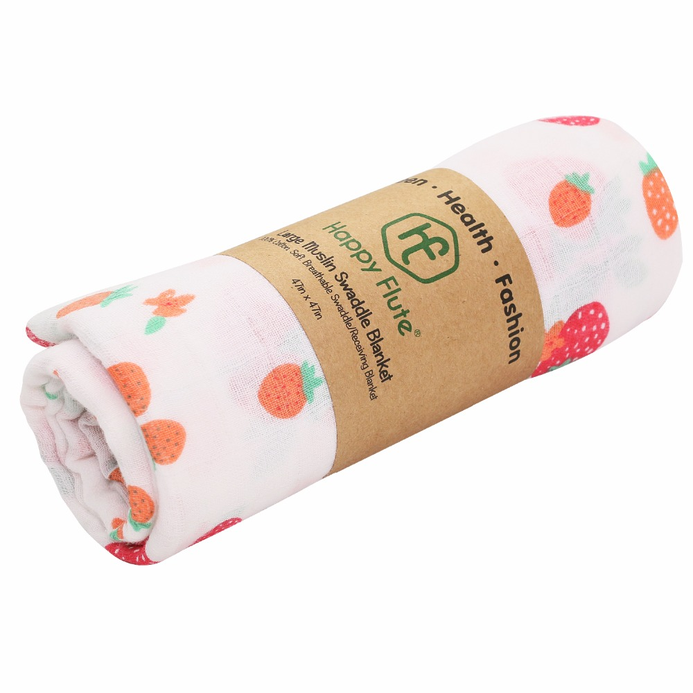 Happy Flute 1Pc Muslin 100% Cotton Baby Swaddles Soft Newborn Blankets Infant Wrap sleepsack Stroller cover Play Mat | Happy Baby Mama