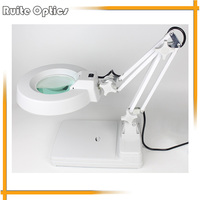 220V 10X Desktop Green Optical Glass Magnifying Glass Lamp Light Magnifier Folding For PCB Precision Parts Inspection