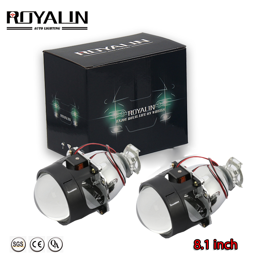 ROYALIN Newest Bi-xenon Lenses 2.5'' HID H1 Projector Lens LHD VER 8.1 For H1 H4 H7 Auto Motorcycle Lights Retrofit Car-styling