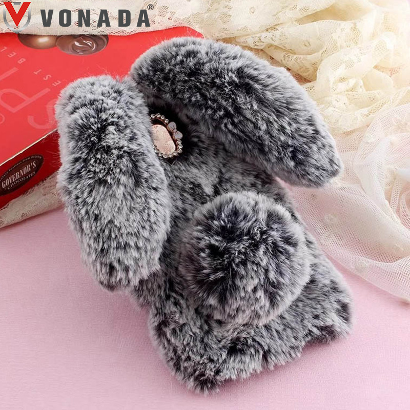 Vonada Plush Bunny Case for <font><b>Alcatel</b></font> POP 4 5051D 4 Plus <font><b>5056D</b></font> 4s OT5095 Soft Fur Cute 3D Rabbit Ears TPU Diamond Phone Case Cover image