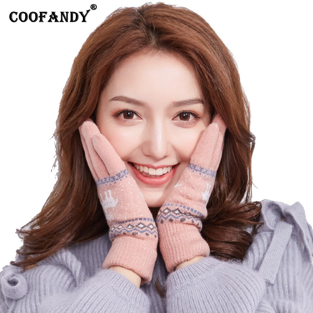 Women Winter Warm Full Finger Touch Screen Keep Warm, Reindeer Knitted Fashion Gloves Casual Jacquard