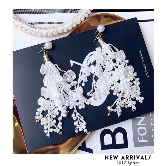 M MISM New Black White Lace Tassel Earrings Girls Long Pearl Boucle D'Oreille Women Korean Style Rhinestones Pendientes Flecos