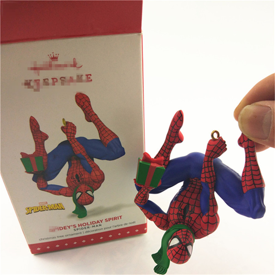 1piece spider man PVC Figurine Figure spider man spidey's holiday spirit christmas tree ornament toys
