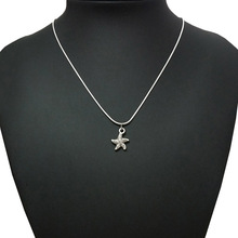 TJP Antique Silver Tone Sea Star Starfish Charms Pendants Necklaces Fashion Short Snake Chain Choker Jewelry Gifts