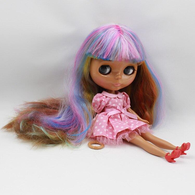 Black Bonecos Nude fashion dolls in doll blyth Multi-colors bangs long hair DIY bjd doll toys baby dolls for girl gifts bonecas blyth doll nude gold bangs long hair 12 inch fashion dolls cute diy blyth doll for sale