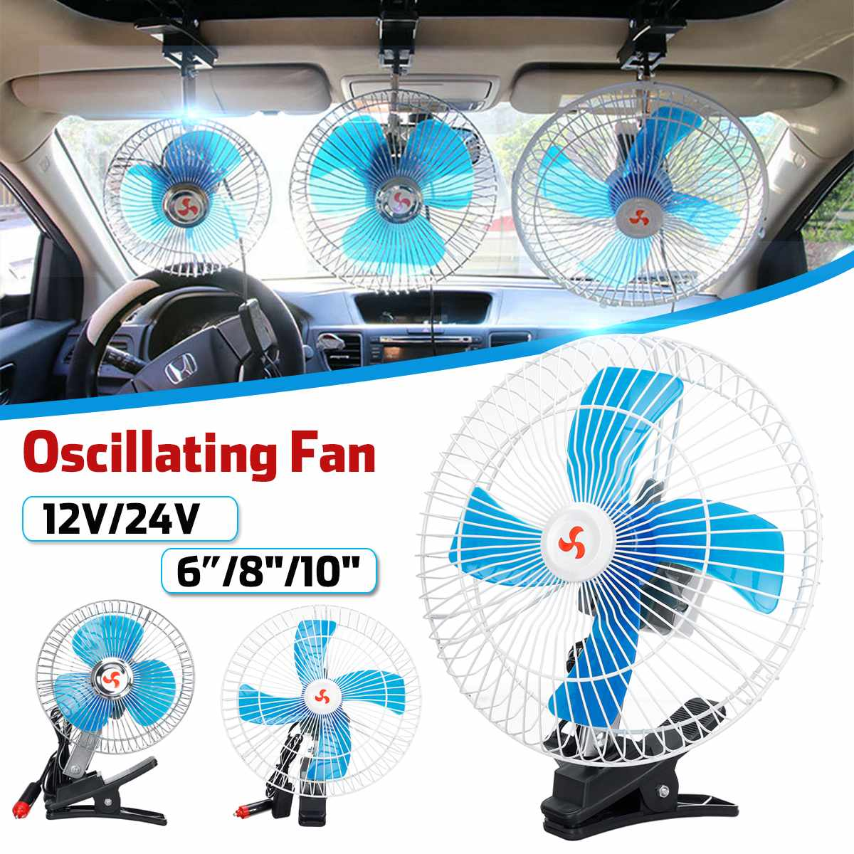 """8/"""" 12v Auto Car Truck Cooling Oscillating Fan with Clip Smoke Lighter Plug 6"""