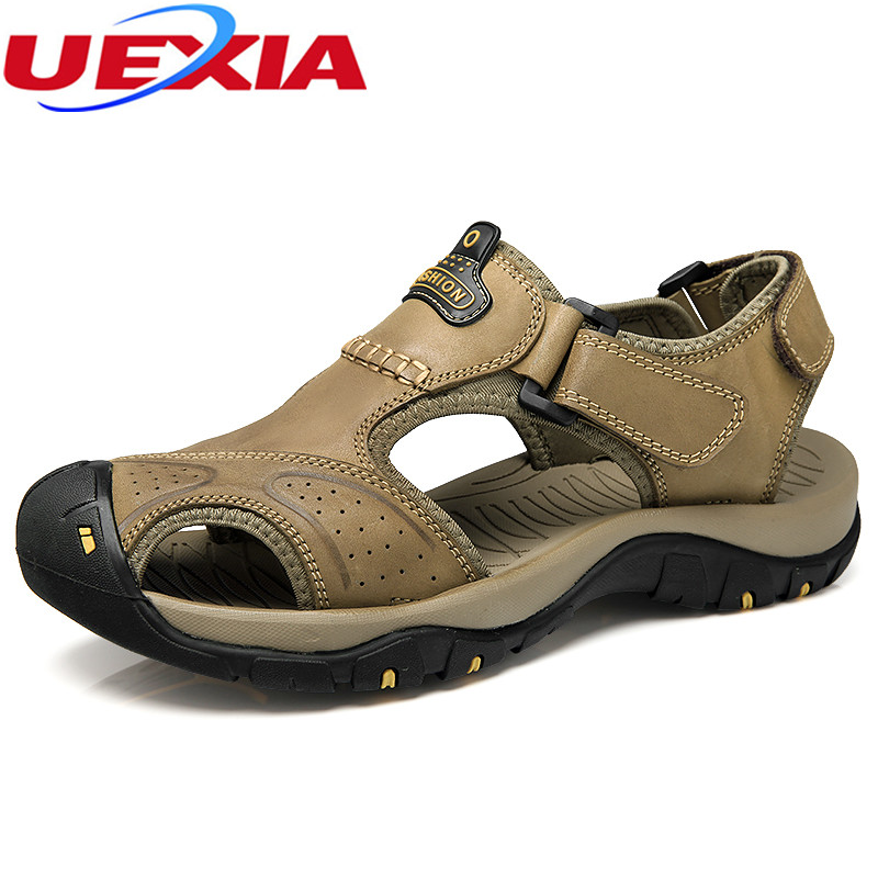f5afac90c13b8 New Fashion Luxury Full Grain Leather Men Sandals Handmade Men Shoes Summer  Soft Leather Shoes Top Quality Flats Beach Sandals