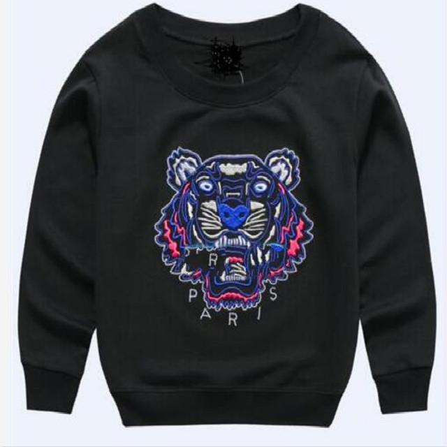 A nova primavera 100% das crianças roupas de algodão camisola tigre bordado Hoodies desenhos animados do bebê crianças outono 2017 tops t-shirts