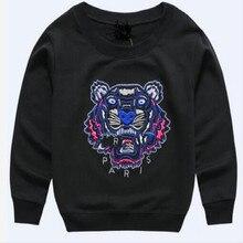 Le nouveau printemps 100% coton chandail brodé tigre enfants de vêtements de bande dessinée Hoodies bébé enfants automne 2017 tops t-shirts