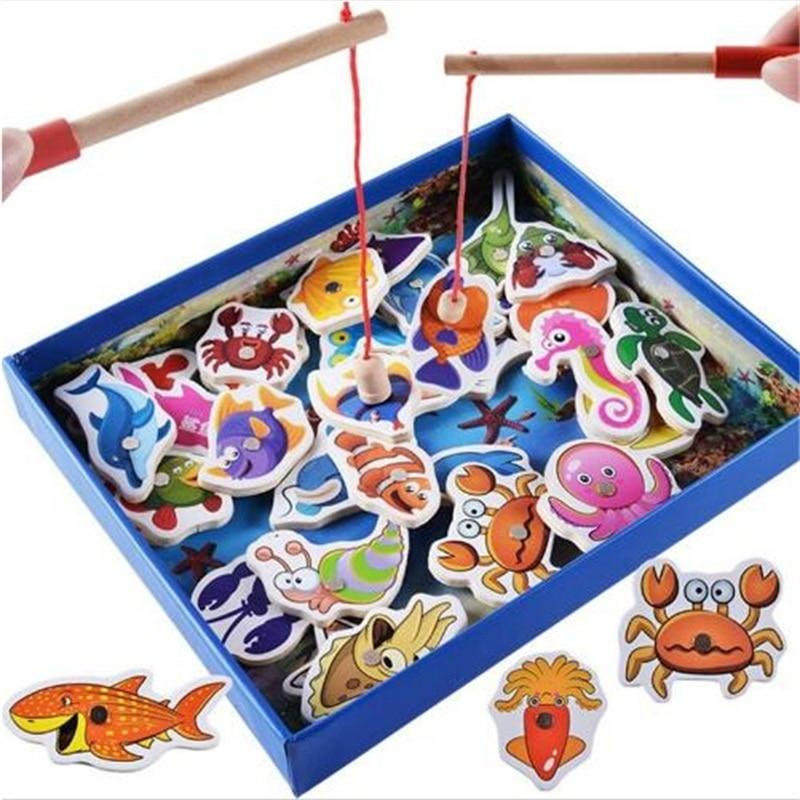 32 Stks Baby Educatief Speelgoed Vis Houten Magnetische Vissen Speelgoed Set Game Educatief Speelgoed Verjaardag Kerstcadeaus Voor Kinderen Een Lang Historisch Aanzien Hebben