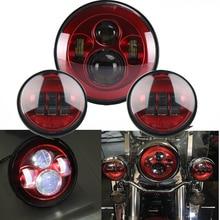 TNOOG Motorcycle Red light Set 7 inch Daymarker led light bulb headlight Motorcycle Projector 4.5 Inch Round Passing Fog light