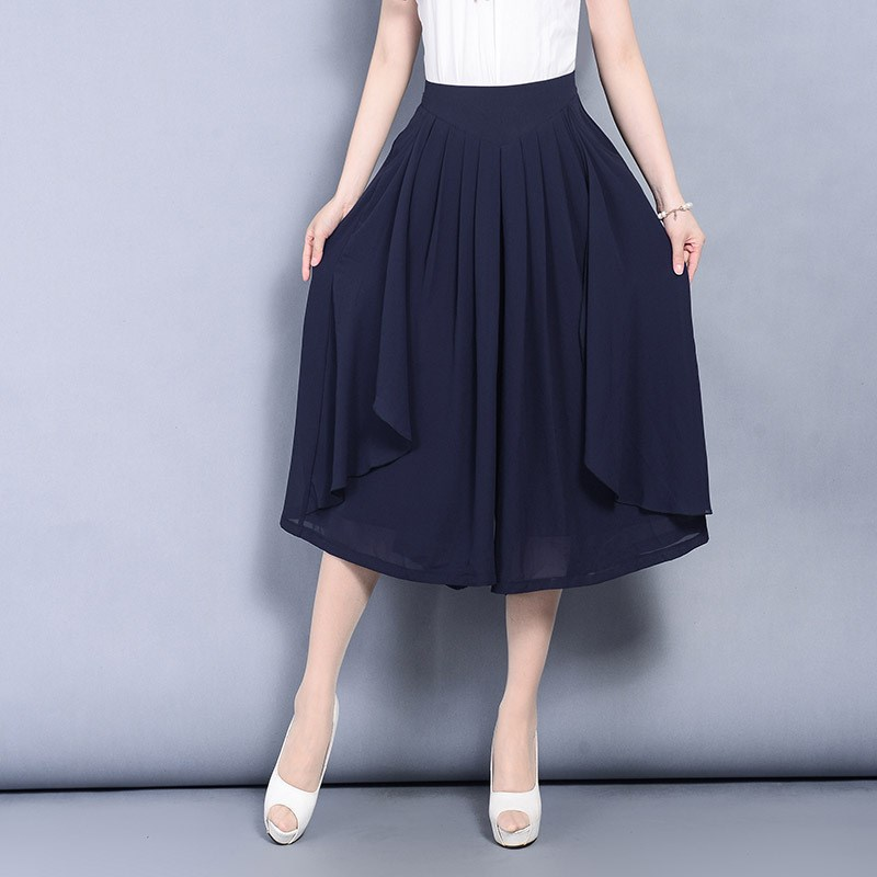 2019 New Summer Women's Chiffon   Pants   Skirt Thin Wide Leg   Pants   High Waist Elastic Casual Elegant   Pants