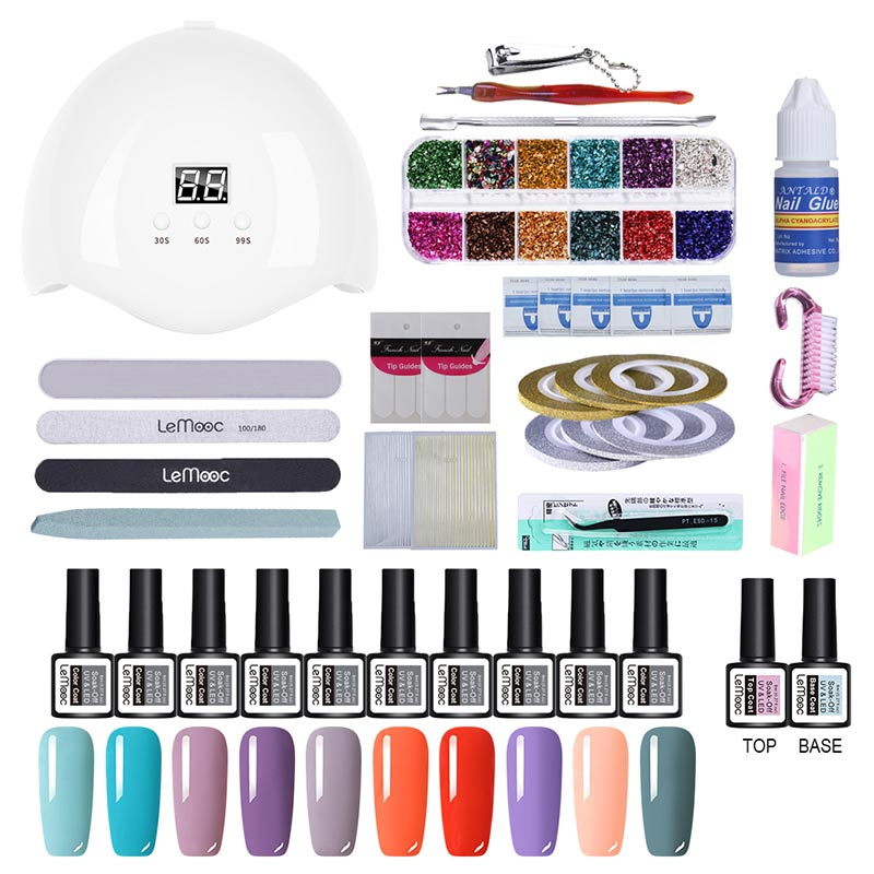 Full Manicure Set 32pcs Gel Nail Kits With Lamp 36W UV Polish Tools For Pedicure Art