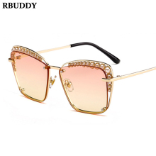 5ac86524e8 RBUDDY Sunglasses Women Creative Pearl Square Frameless Sun Glasses UV400  Luxury