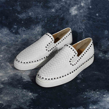Genuine Leather Pattern Flats Men Studded Spikes Red Thick Sole Loafers Male Round Toe Slip On