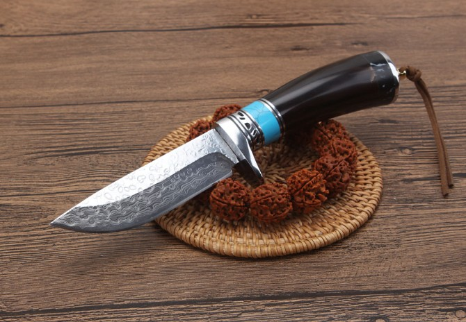 TRSKT Damascus Collection Knife ,Ox horn Handle, With Leather Sheath ,Hunting Survival Outdoor Camping tool Pocket Knives survival damascus steel hunting knives ox horn handle amry knife damascus steel outdoor camping tool