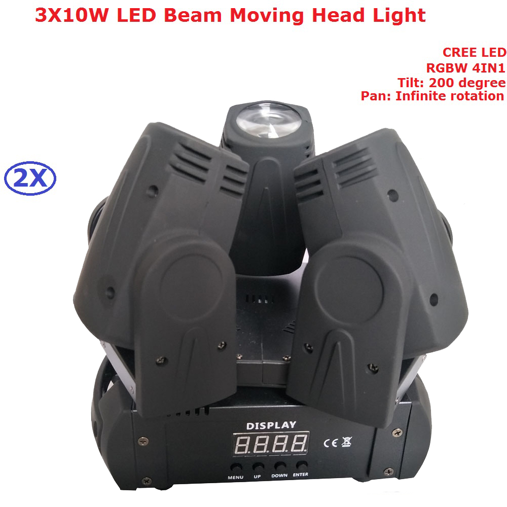 2Pcs/Lot Led Moving Head Beam Light 3 Heads 3X10W Mini Wash Spot Beam Stage Lighting With 12 DXM Channels For Party Dj Disco 8pcs lot free shipping best lighting led moving head spot led 90w moving heads factory price