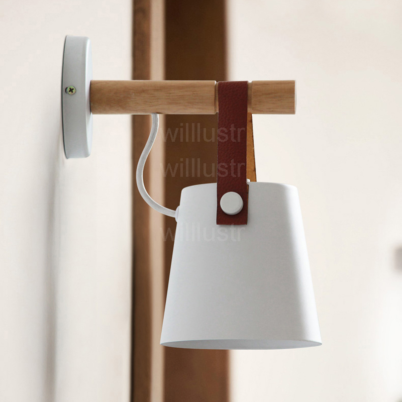 Willlustr iron wall sconce metal leather belt light white black color cafe bar bedside American country style wood wall lamp willlustr fabric wall lamp beige cloth light europe bronze lighting fixture bedside claridge double sconce with linen shade