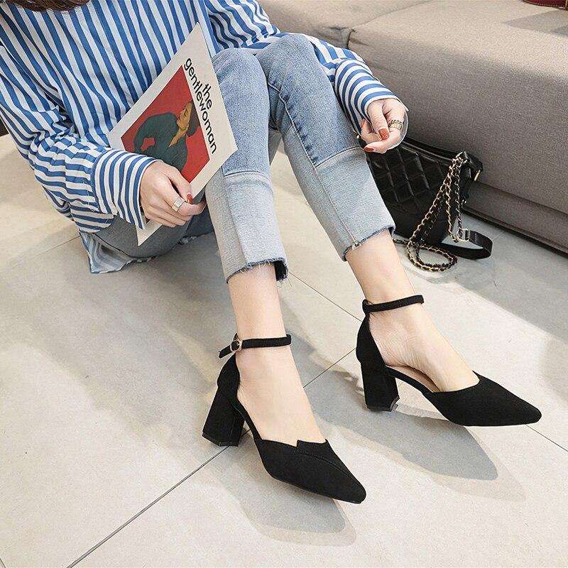 Femmes 2019 Strapfootwear D981 Épais Chaussures Pompes Nouvelles Talons 35 D'été Cheville Partie Taille noir Boucle 39 Beige Beige Dames Noir 55Rwpq