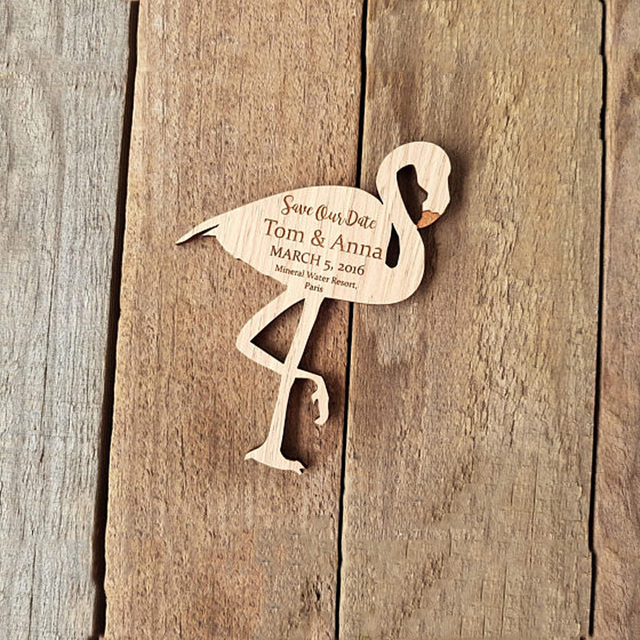 wooden save the date magnets cutsom wooden flamingos rustic wood